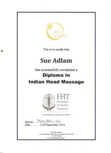 Indian Head massage diploma certificate 001
